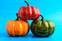 Three Halloween pumpkin with scary face Stock Photo