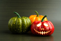 Three Halloween pumpkin with scary face Royalty Free Stock Image