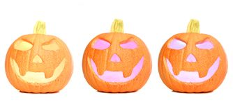 Three halloween pumpkins Royalty Free Stock Images