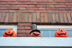 Three halloween pumpkins Stock Photo