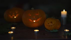 Three halloween pumpkins head lantern with burning candles on a black background on wooden table with knife and spoon stock video