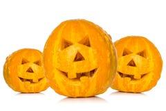 Three Halloween pumpkins Royalty Free Stock Image