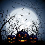 Three halloween pumpkins Stock Photos