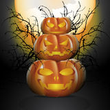 Three halloween pumpkins. In moon light with the big full moon and decorated with silhouette of dry twigs. Vector illustration for Halloween festival Royalty Free Stock Photos