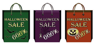 Three halloween shopping bags Royalty Free Stock Photography