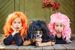 Three Halloween witches Royalty Free Stock Images