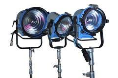 Three halogen spotlights. Camera shot on three halogen spotlights with white background royalty free stock images