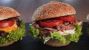 Three hamburger variety - appetizing beef, pulled pork and chicken sandwich. In a row with delicious ingredients - camera slide in a circle stock footage