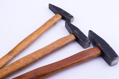 Three hammers on white background Royalty Free Stock Images
