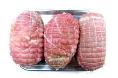 Three Hams Ready to be Cooked Royalty Free Stock Photography