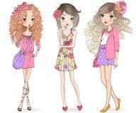 Free Three Hand Drawn Beautiful Cute Cartoon Summer Girls. Royalty Free Stock Photo - 125911895