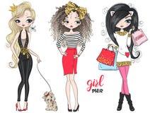 Free Three Hand Drawn Beautiful Cute Fashion Girls Power Shopping. With Little Dog. Royalty Free Stock Photos - 153684718