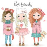 Three hand drawn beautiful cute little girls with Teddy bears on the background with the inscription best friends. Vector illustration stock illustration
