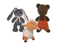 Three hand-drawn plush toys, a bear, a lamb Stock Photo