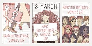 Three hand drawn postcards for international women`s day. Set of three hand drawn posters or postcards for international women`s day, showing portraits of royalty free illustration