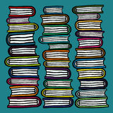 Three hand drawn stacks of colorful books on teal background Stock Photography