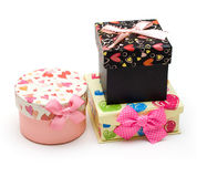 Three hand-made gift boxes Stock Images