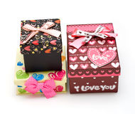Three hand-made gift boxes in white Royalty Free Stock Photos