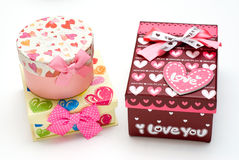 Three hand-made gift boxes in white background Royalty Free Stock Image