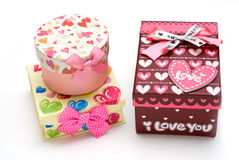 Three hand-made gift boxes in white background Royalty Free Stock Images