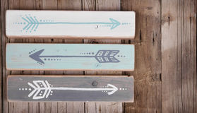 Three hand painted arrows Royalty Free Stock Image