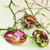 Three Hand Painted Easter Eggs Royalty Free Stock Image