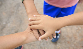 Three hand together. Family with their Three hand together Stock Images