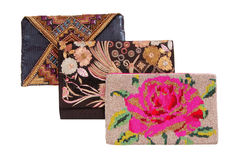 Three handbags with embroidery, clutchs Stock Image