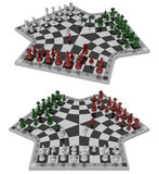 Three-handed chess, two views Stock Images
