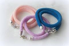 Three handmade necklaces Stock Photos