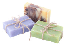 Three handmade soaps isolated on white background. Group Stock Images