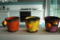 Three handmade vase Stock Images
