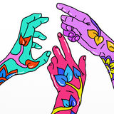 Three hands decorated Royalty Free Stock Photo