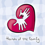 Three hands of the family in heart Royalty Free Stock Image