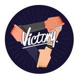Three hands holding each other strongly with Victory - vector illustration. Three hands holding each other strongly with text Victory - vector illustration vector illustration