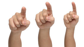 Three hands pointing or touching something. Royalty Free Stock Image