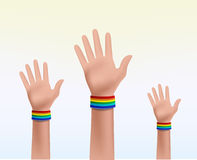 Three hands together celebrating Royalty Free Stock Images