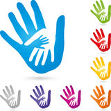 Three hands together, hands and family logo Royalty Free Stock Images