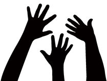 Three hands together, vector Royalty Free Stock Photography