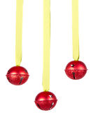 Three hanging Christmas or holiday ornaments Royalty Free Stock Image