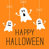 Three hanging Halloween ghosts. Card. Royalty Free Stock Photography