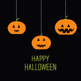 Three hanging pumpkin. Halloween card for kids. Black background Flat design. Stock Photos