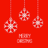 Three hanging  snowflakes. Merry Christmas card. Royalty Free Stock Photos