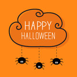 Three hanging spiders. Happy Halloween card. Cloud. Frame Dash line Orange background Vector illustration Stock Image