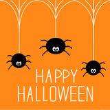 Three hanging spiders. Happy Halloween card. Stock Image