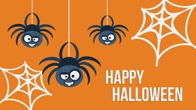 Three hanging spiders. Vector illustration. Three hanging cute spiders. Happy Halloween invitation card.  Template design. Vector illustration Royalty Free Stock Photography