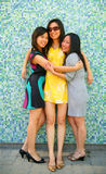Three Happy Asian Girl Hugging And Smiling Stock Image