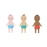 Three happy babies  toddlers of different ethnicities Royalty Free Stock Photo