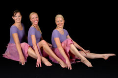 Three happy ballerinas Stock Image