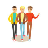 Three Happy Best Friends Going Out , Part Of Friendship Illustration Series. Smiling Cartoon Vector Characters Spending Time With Their Buddies And Mates Royalty Free Stock Image
